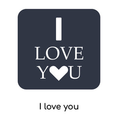 I love you icon vector sign and symbol isolated on white background, I love you logo concept