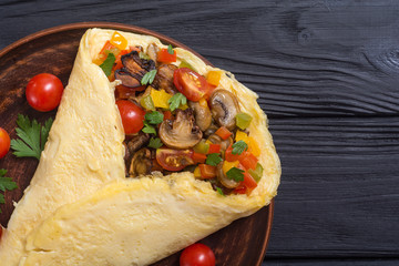 Omelette stuffed with vegetables