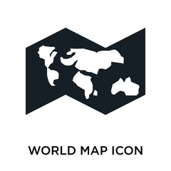 World map icon vector sign and symbol isolated on white background, World map logo concept