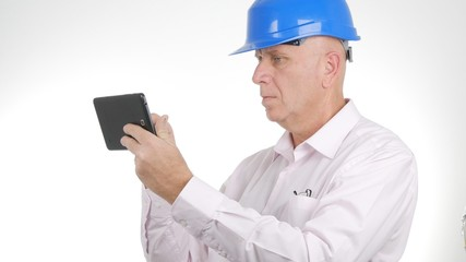 Engineer Image Text Using Tablet Internet Connection