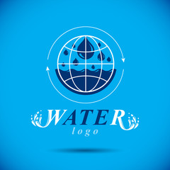 Pure aqua ecology vector logo. Human water reserves theme. Environment conservation concept.