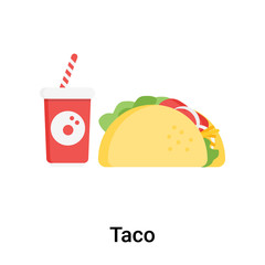 Taco icon vector sign and symbol isolated on white background, Taco logo concept