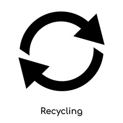 recycling symbol icon isolated on white background. Modern and editable recycling symbol icon. Simple icons vector illustration.