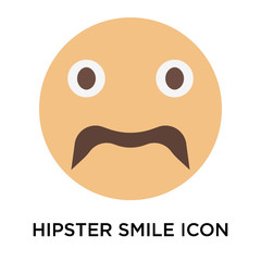 Hipster smile icon vector sign and symbol isolated on white background, Hipster smile logo concept