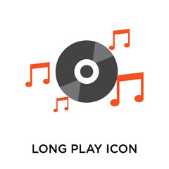 Long play icon vector sign and symbol isolated on white background, Long play logo concept