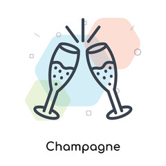Champagne icon vector sign and symbol isolated on white background, Champagne logo concept