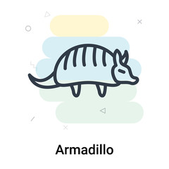 Armadillo icon vector sign and symbol isolated on white background, Armadillo logo concept