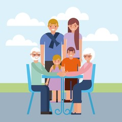 grandparents day older couple sitting with grandchildrens happy outdoor vector illustration