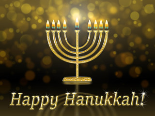 greeting card with inscription - happy hanukkah