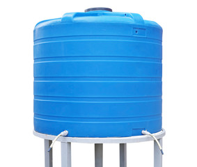 Blue plastic water storage tank on white background