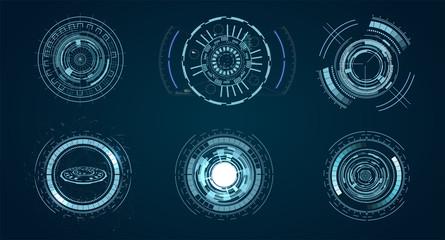 technological HUD elements, futuristic interface virtual reality. Hud futuristic template. circle digital of technology design