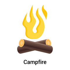 Campfire icon vector sign and symbol isolated on white background, Campfire logo concept