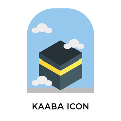 Kaaba icon vector sign and symbol isolated on white background, Kaaba logo concept