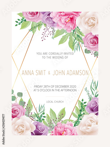 cddd64b33796a Wedding floral invitation, save the date card design with white and ...