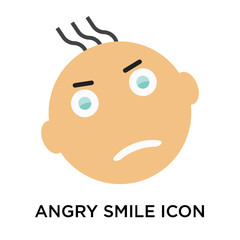 Angry smile icon vector sign and symbol isolated on white background, Angry smile logo concept