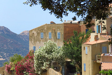 Picturesque view of a mountain village in the Balagne region, Corsica, France