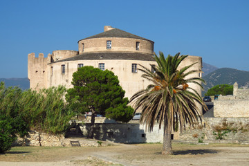 Citadel of Saint-Florent with round tower, Corsica, France