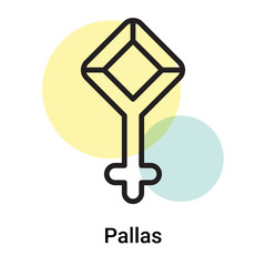 Pallas icon vector sign and symbol isolated on white background, Pallas logo concept