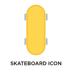 Skateboard icon vector sign and symbol isolated on white background, Skateboard logo concept
