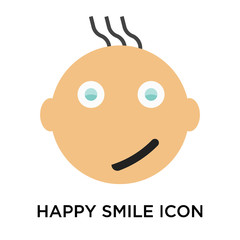 Happy smile icon vector sign and symbol isolated on white background, Happy smile logo concept