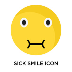 Sick smile icon vector sign and symbol isolated on white background, Sick smile logo concept