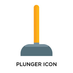 Plunger icon vector sign and symbol isolated on white background, Plunger logo concept