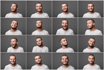 portraits of man with positive emotions