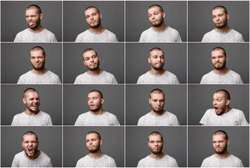 young man with different negative emotions