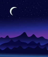 Night sky illustration with deem stars and Moon with mountains underneath, nature landscape, sky