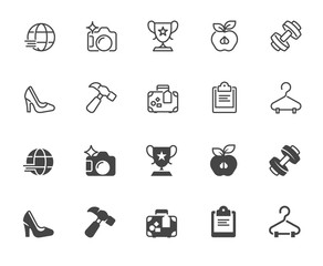 Set of icons in linear and glyph designs. Healthy lifestyle, sports, tourism, business theme. Outline and black flat labels for infographics, buttons, interfaces. Vector illustration isolated