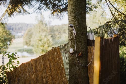 Aussendusche In Einem Deutschen Garten Stock Photo And Royalty Free