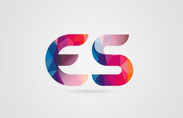 alphabet letter es e s logo combination design