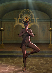 Fantasy priestess blindfold with horns in a yoga position with an altar behind her.