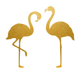 Golden Flamingo. Isolated. Vector.