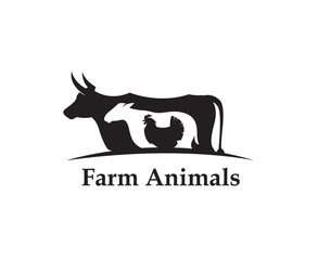 monochrome label of farm animals cow, chicken and sheep