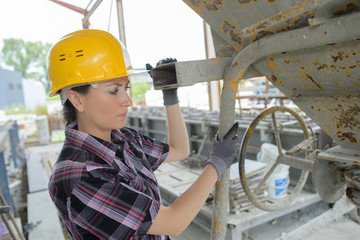 female builder outdoors
