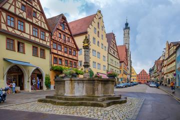 Medieval old street in Rothenburg ob der Tauber, Germany