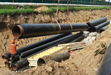 Construction work. Pipe laying. Repair of communications.