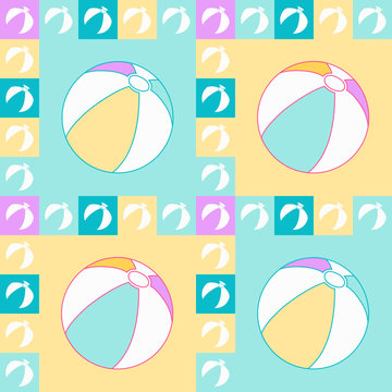 Seamless pattern in pastel colors with isolated beach balls in squares and frame