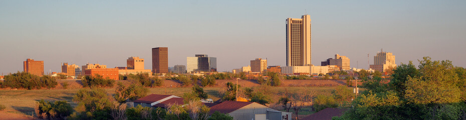 Aluminium Prints Texas Golden Light hits the Buildings and Landscape of Amarillo Texas