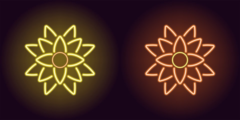 Neon lotus with backlight in yellow and orange color