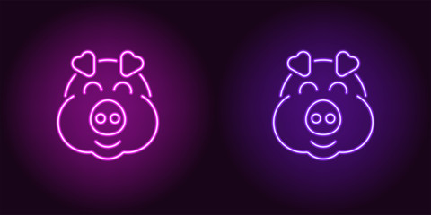 Neon piglet face in purple and violet color