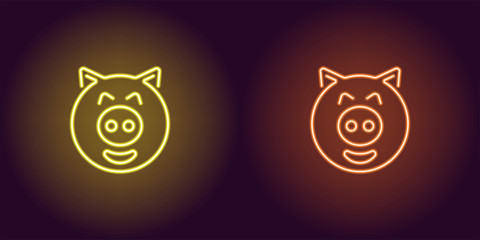 Neon piglet face in yellow and orange color