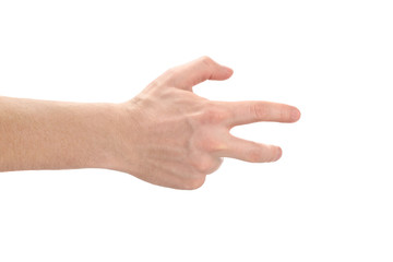 Strange hand sign, isolated on white background