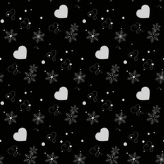 Abstract Heart and snowflakes Black line vector seamless pattern eps10