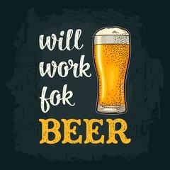 Glass beer. Vintage vector engraving
