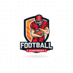 American football logo, Modern sport logo for American football championship. Sport emblem vector template