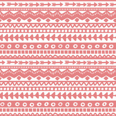 Seamless pink and white geometric background. Ethnic hand drawn pattern for wallpaper, cloth, cover, textile
