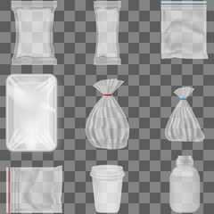 A set of realistic plastic packaging on a transparent background. Plastic bags, cups and jars