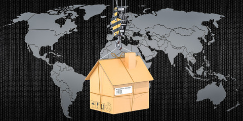 Worldwide moving services concept. 3D rendering
